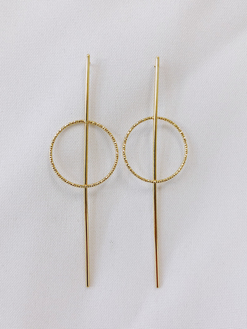 Drop Circle Bar Earring - Stitch And Feather