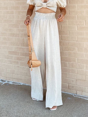 Meena Linen Pants in Natural - Stitch And Feather