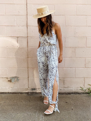 Honeycomb Surplice Jumpsuit - Stitch And Feather