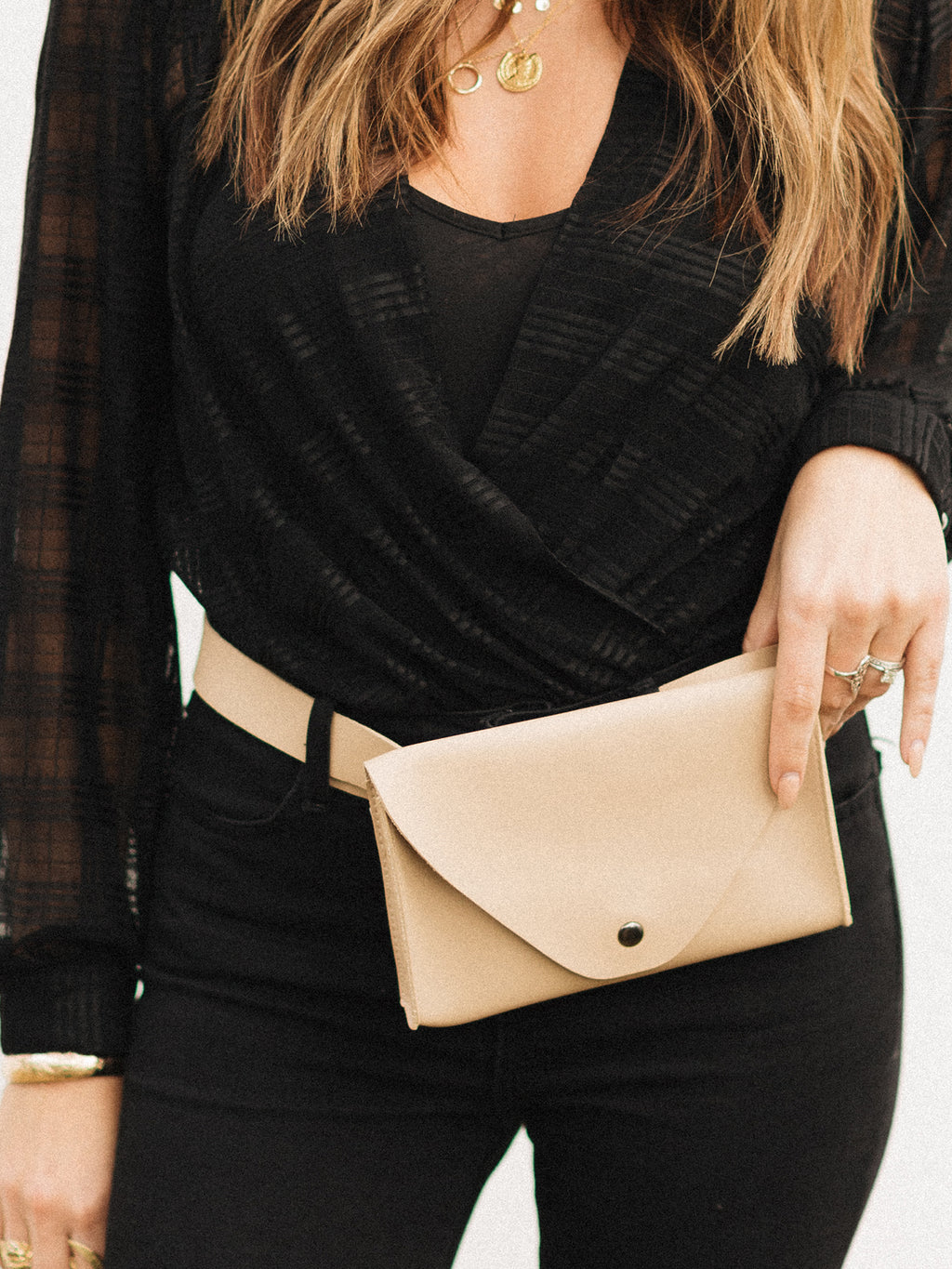 Beige Belted Fanny Pack - Stitch And Feather