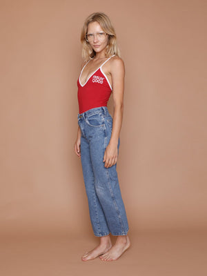 feeling good bodysuit, CAMP collection, bodysuit, red, embroidery, v-neck, 7003CCT