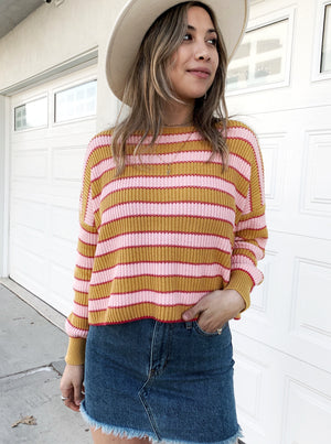 Friends With Cupid Stripe Sweater - Stitch And Feather