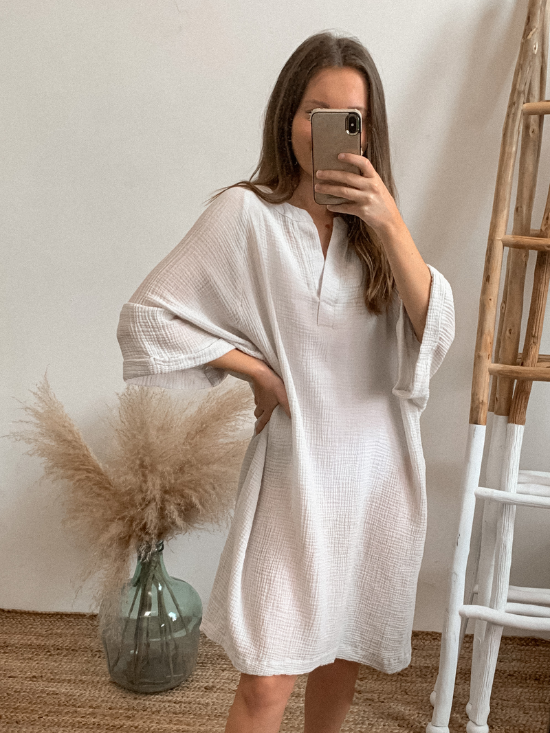 Gauze Shirt Dress - Stitch And Feather