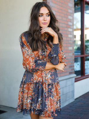 Golden Hour Mini Dress in Rust - Stitch And Feather