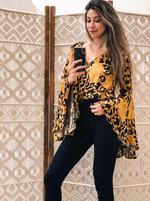 Golden Bells Leopard Bodysuit