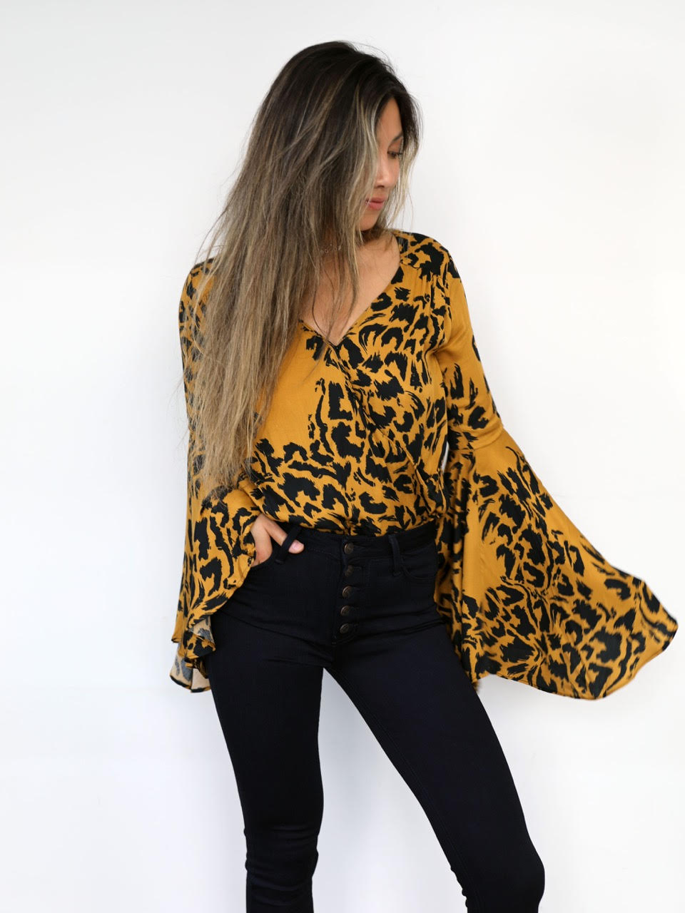 Golden Bells Leopard Bodysuit - Stitch And Feather