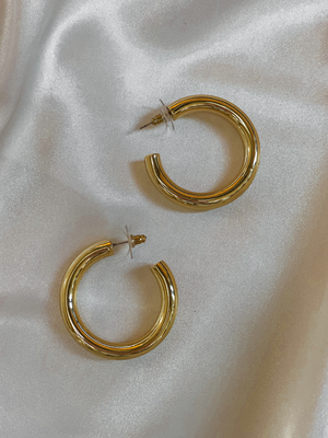 Cylinder Gold Hoops - Stitch And Feather