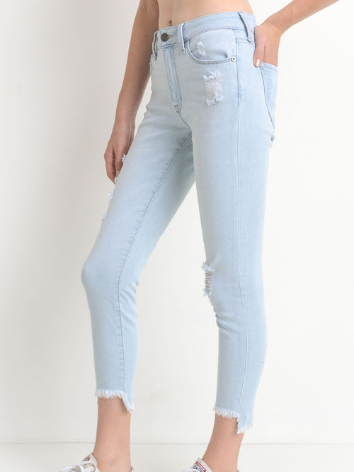 High Rise Frayed Skinny