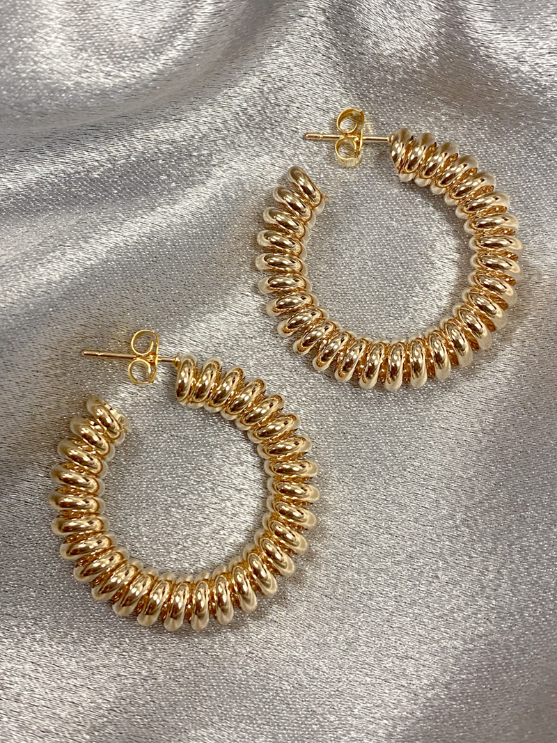 Gold Coil Hoops - Stitch And Feather