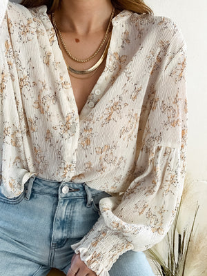 Floral Creased Button Down - Stitch And Feather