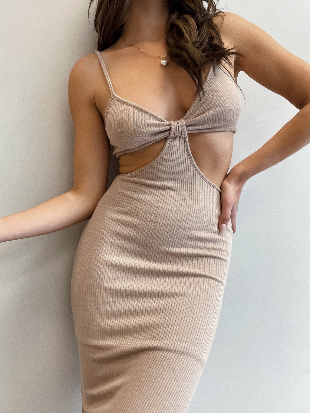 Staycation Cut Out Dress in Taupe - Stitch And Feather
