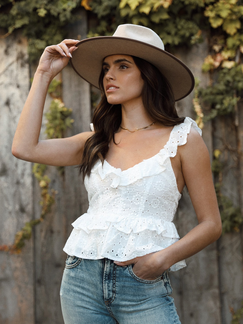 Eyes on Me Eyelet Top - Stitch And Feather