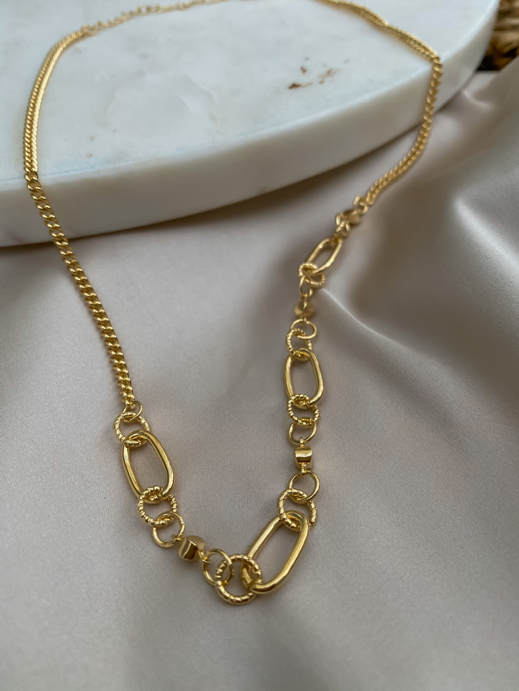 Gold Half Linked Necklace - Stitch And Feather