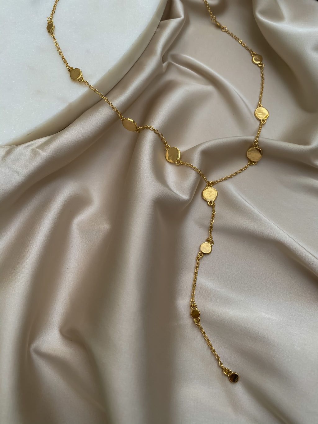 Gold Plate Lariat - Stitch And Feather