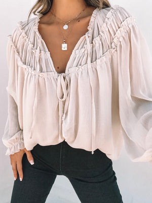 Shirring Ruffles Victorian Blouse - Stitch And Feather