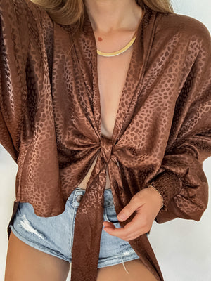 Wanderer Tie Top in Brown - Stitch And Feather