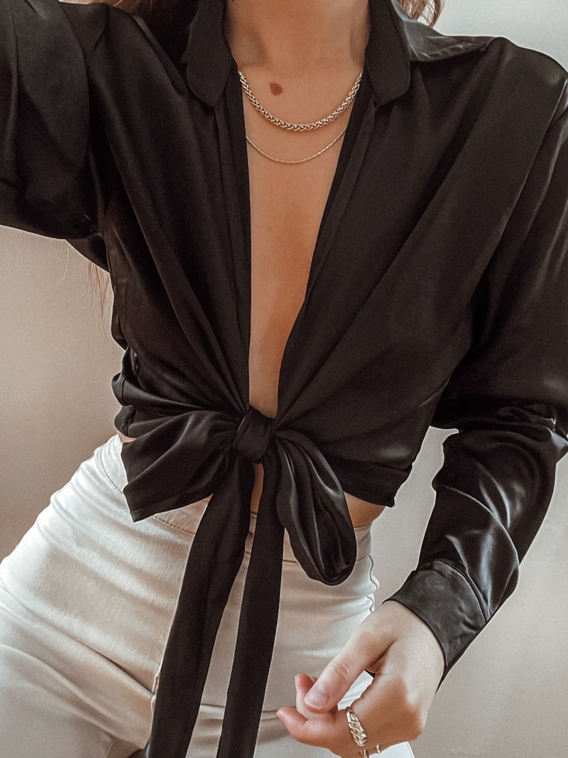 Midnight Black Satin Wrap Top - Stitch And Feather