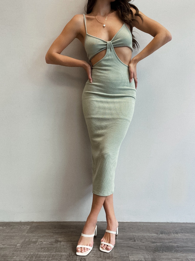 Staycation Cut Out Dress in Sage - Stitch And Feather