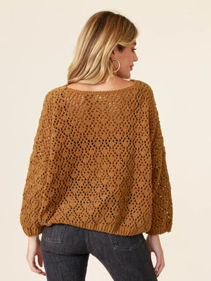 In Your Arms Crochet Sweater Caramel