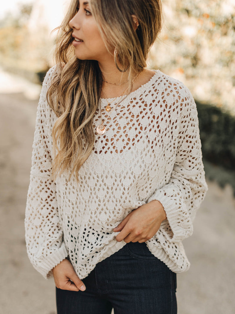In Your Arms Crochet Sweater Almond