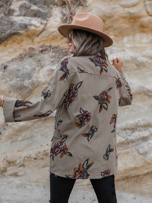 Floral Cargo Jacket - Stitch And Feather