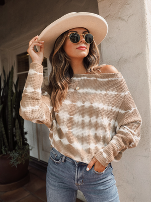 Cappuccino Stripe Sweater - Stitch And Feather