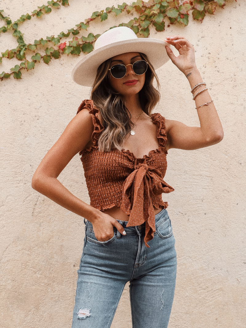 Parker Crop Top in Camel - Stitch And Feather