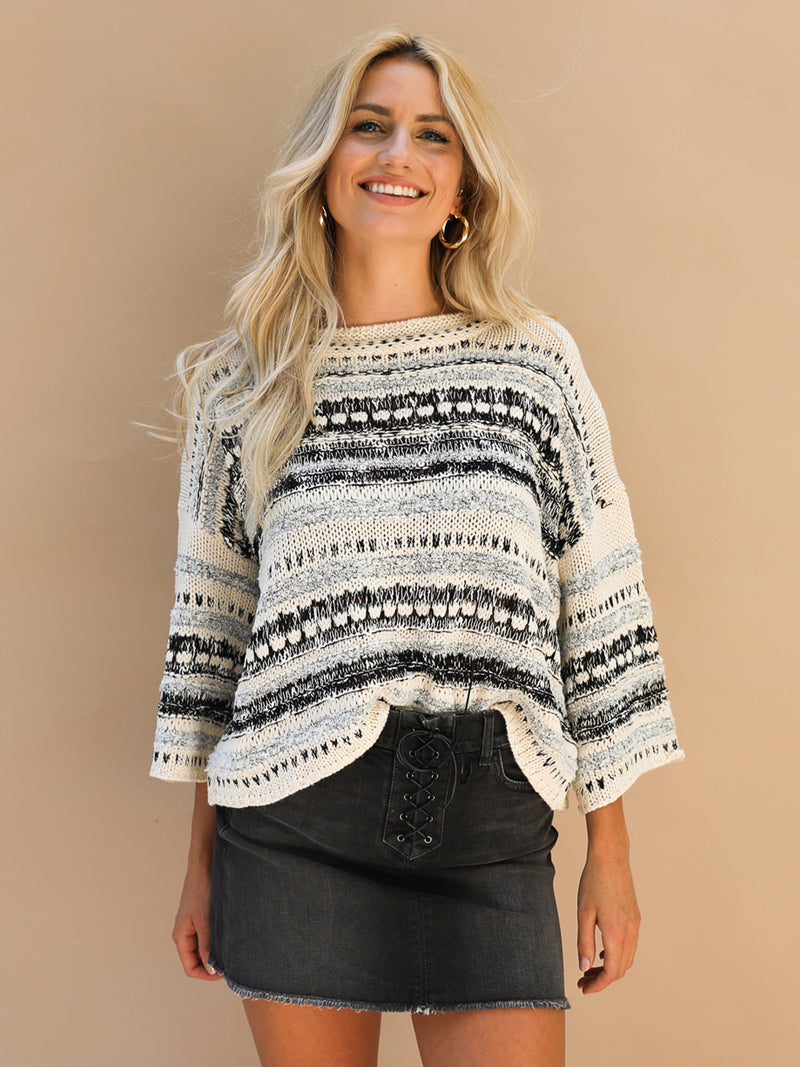 Skip A Beat Cropped Sweater - Stitch And Feather