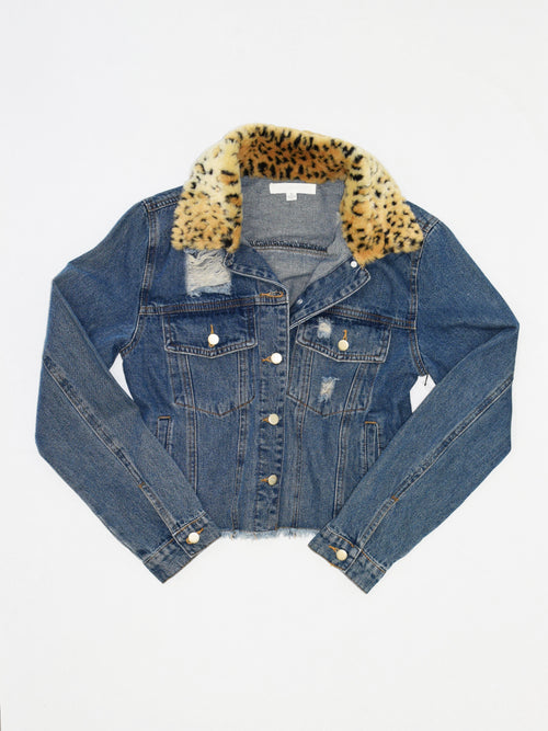 Fur Collar Cropped Denim Jacket