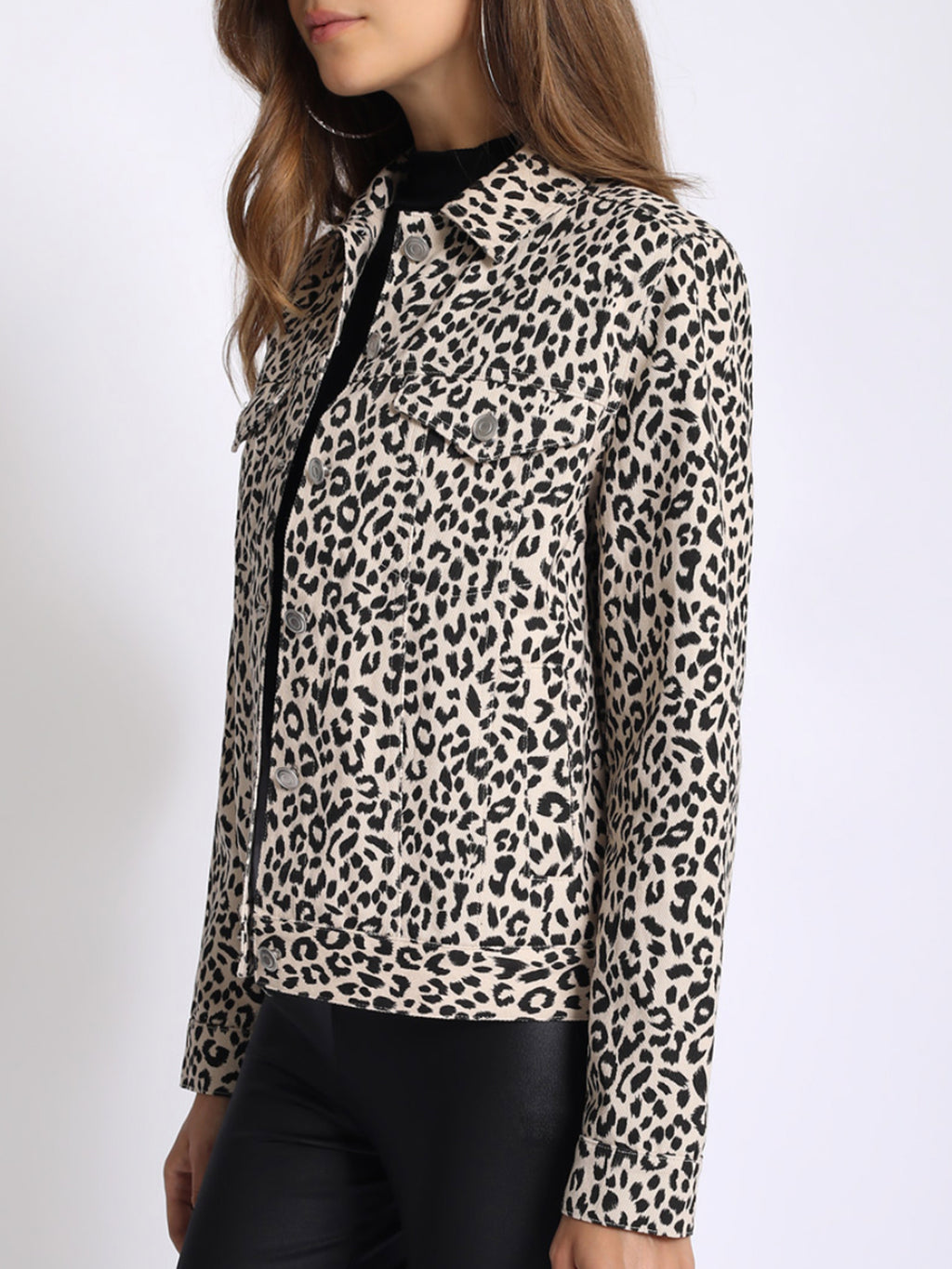Leopard Trucker Jacket Stone - Stitch And Feather