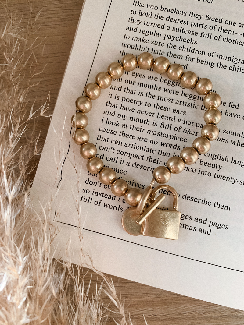 Gold Padlock Bracelet - Stitch And Feather