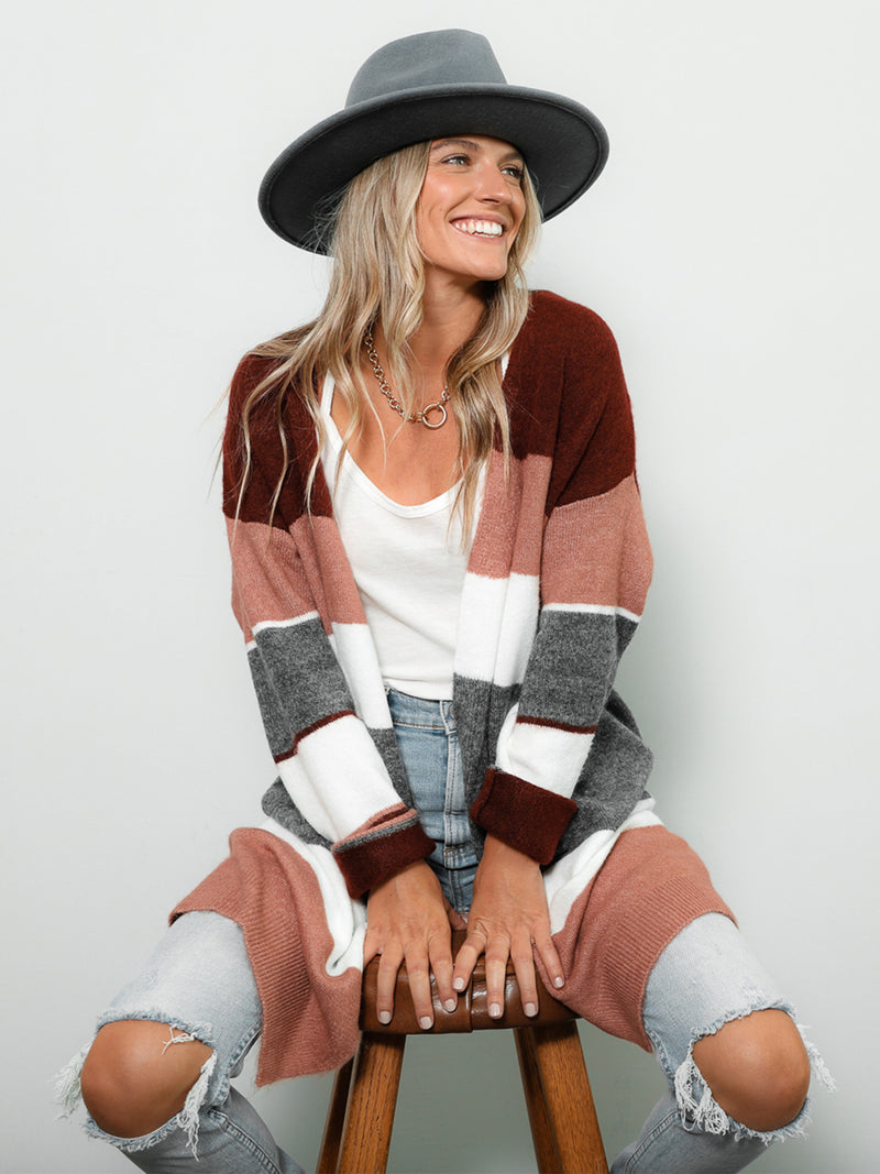 Sunset Color Block Cardigan - Stitch And Feather