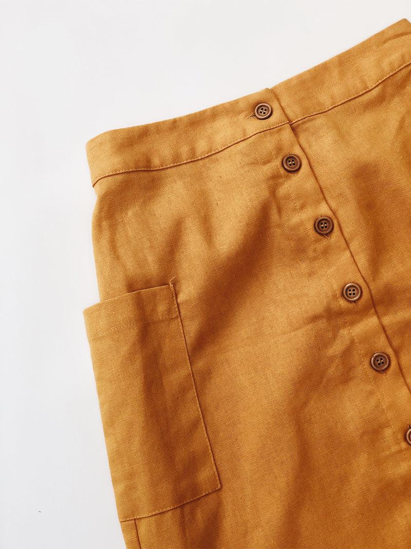 Retro Midi Skirt Mustard - Stitch And Feather