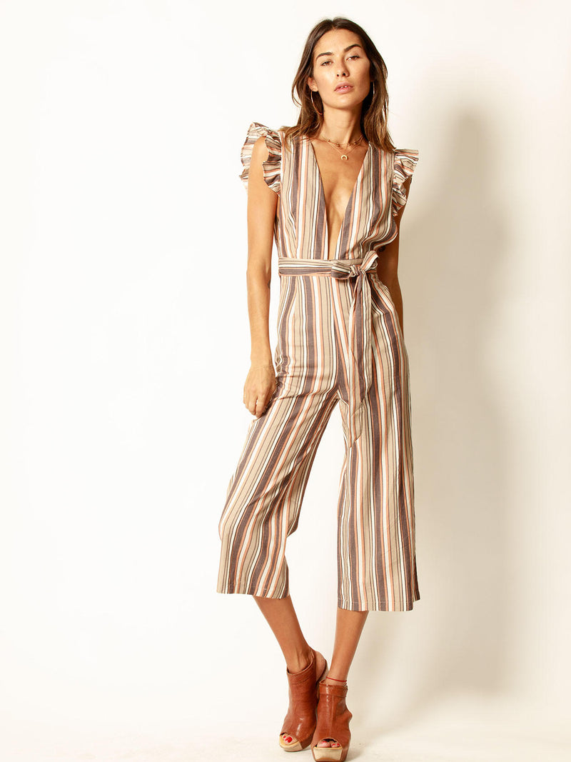 stripe, plunge, jumper, jumpsuit, pin stripe, stripe, ruffle sleeve, jj1577, brown, crop