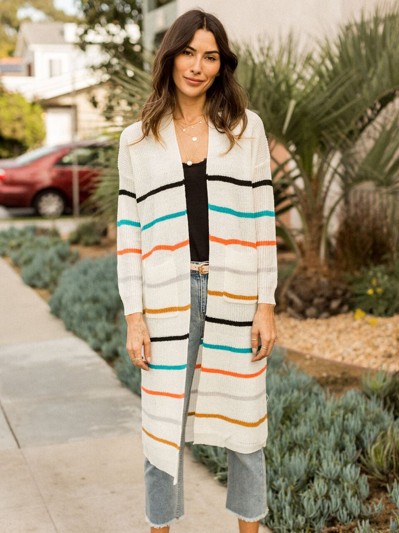 Moody Stripe Duster Cardigan - Stitch And Feather