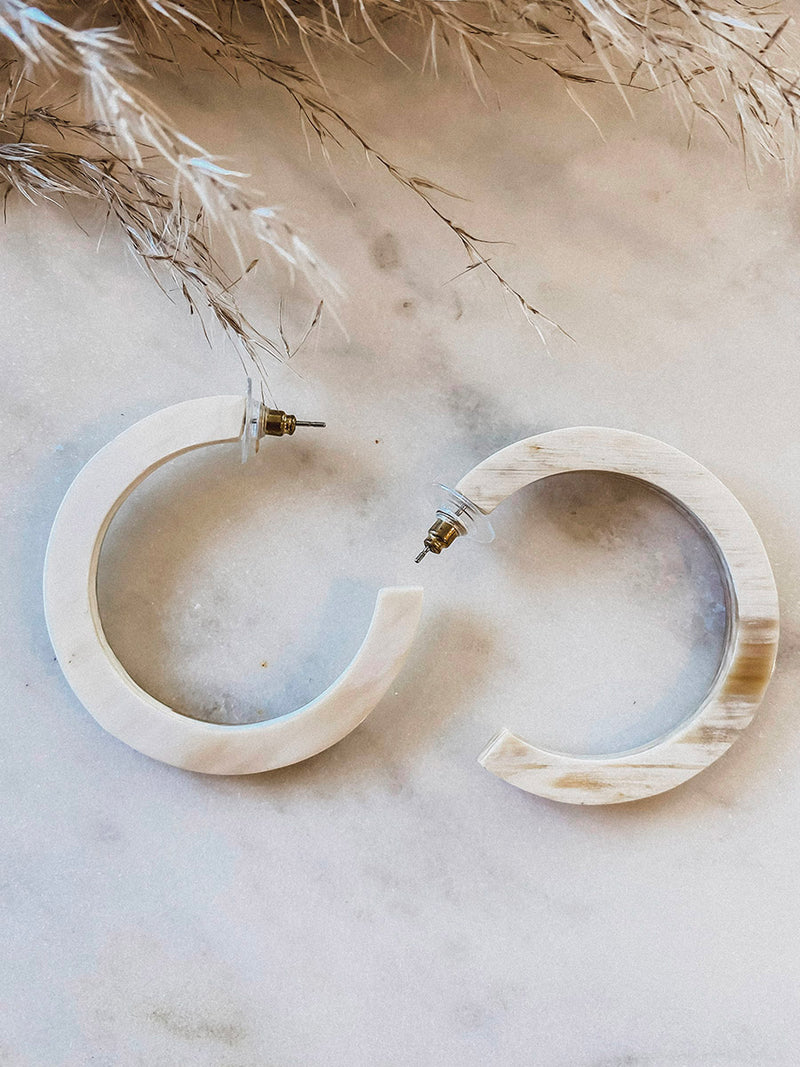 Light Tort Hoops - Stitch And Feather