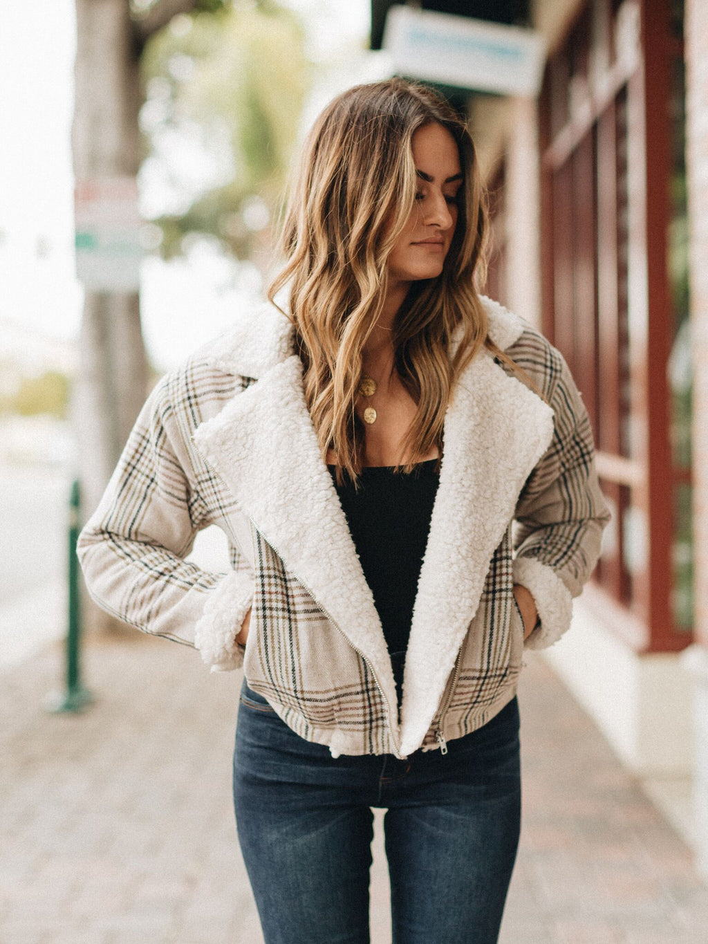 Not Too Bad Plaid Jacket khaki - Stitch And Feather