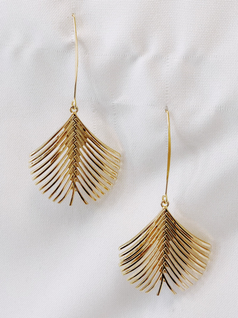 Palm Earrings - Stitch And Feather