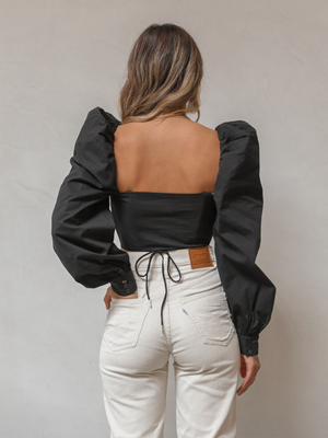 Emery Crop Top in Black - Stitch And Feather
