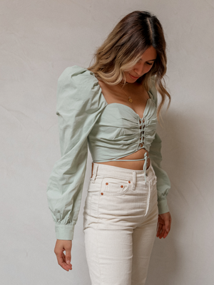 Emery Crop Top in Sage - Stitch And Feather