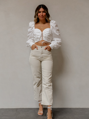 Emery Crop Top in White - Stitch And Feather