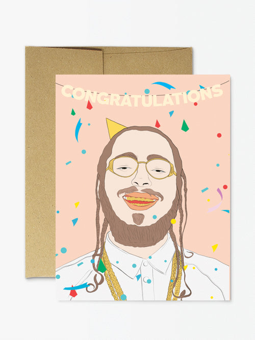 post malone, congratulations, greeting card