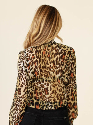 Right Through Leopard Mock Neck Top