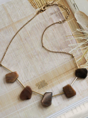 Stone Necklace - Stitch And Feather