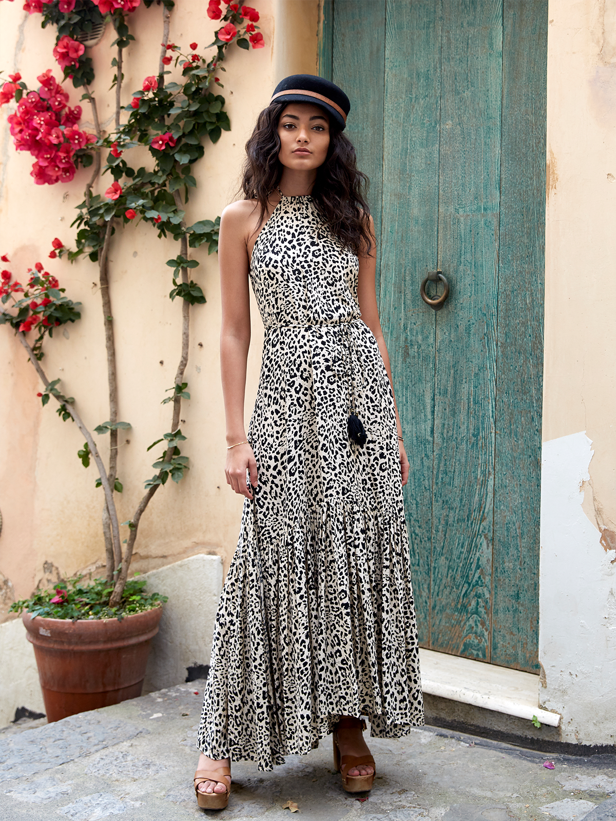 Roma Leopard Maxi Dress Stitch And Feather