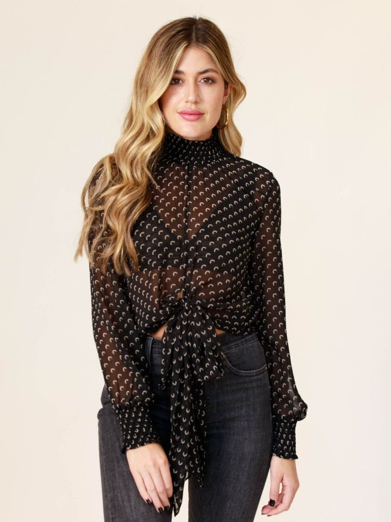Salt and Pepper Sheer Mock Neck Top