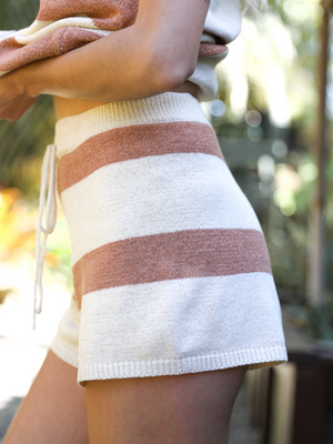 Logan Striped Shorts in Cream - Stitch And Feather