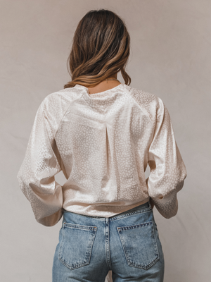 Laney Leopard Blouse in Ivory - Stitch And Feather