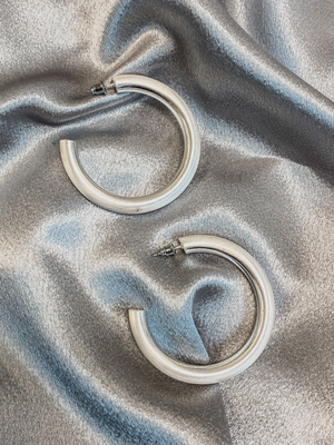 Textured Silver Hoops - Stitch And Feather