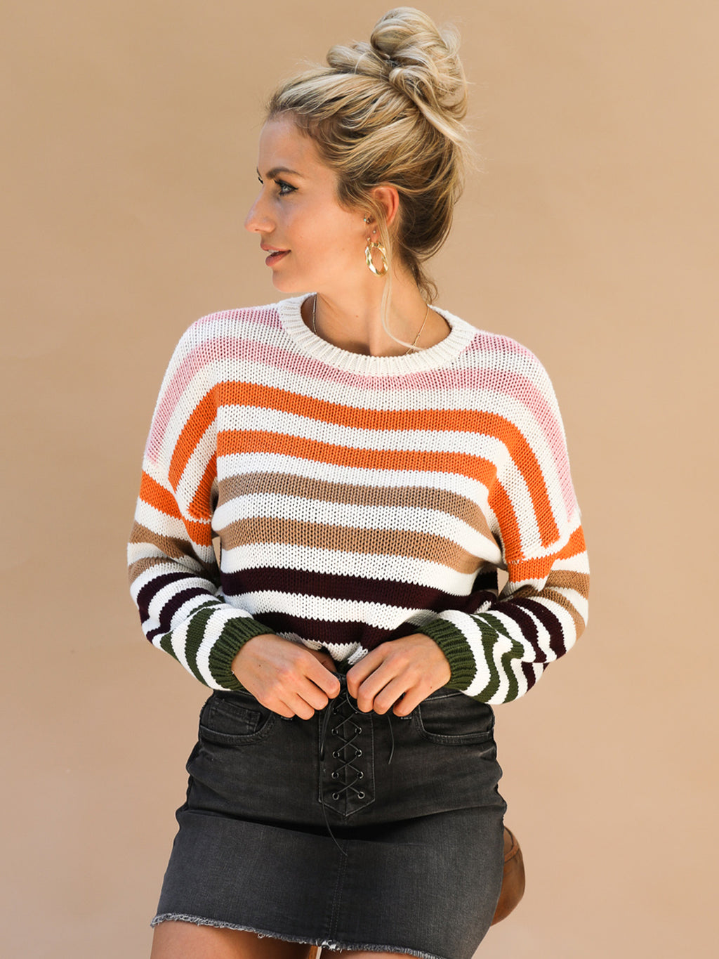 Sweet Caroline Stripe Crop Sweater - Stitch And Feather
